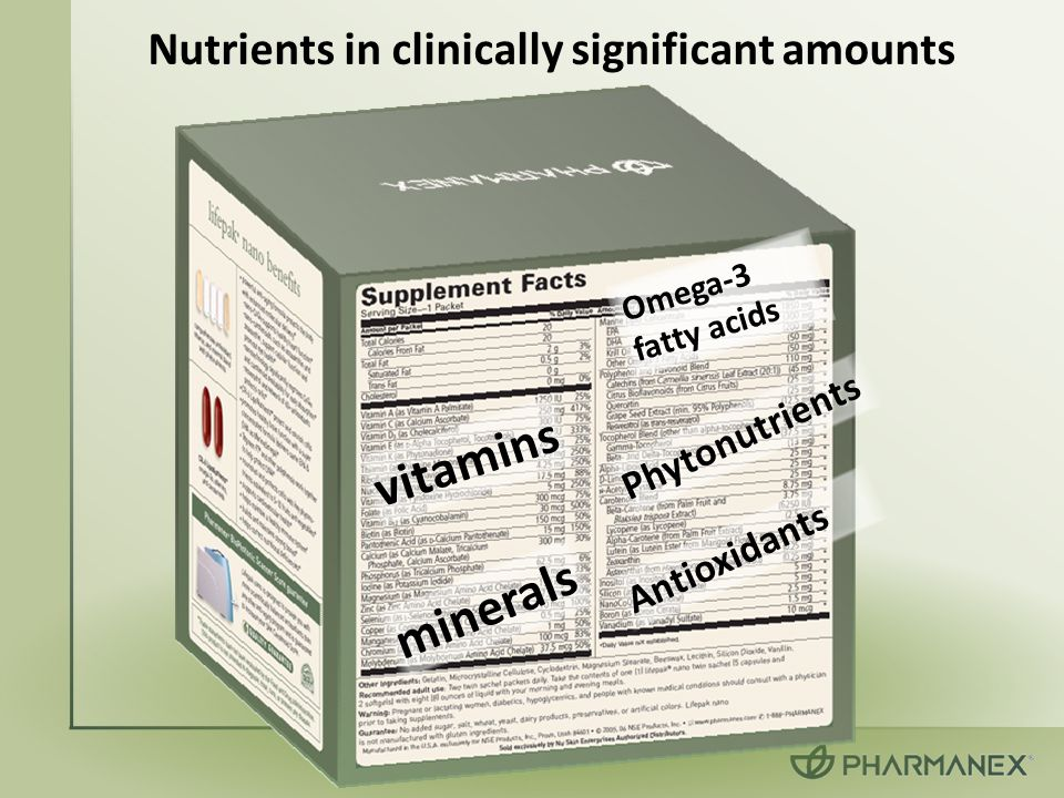 Nutrients in clinically significant amounts