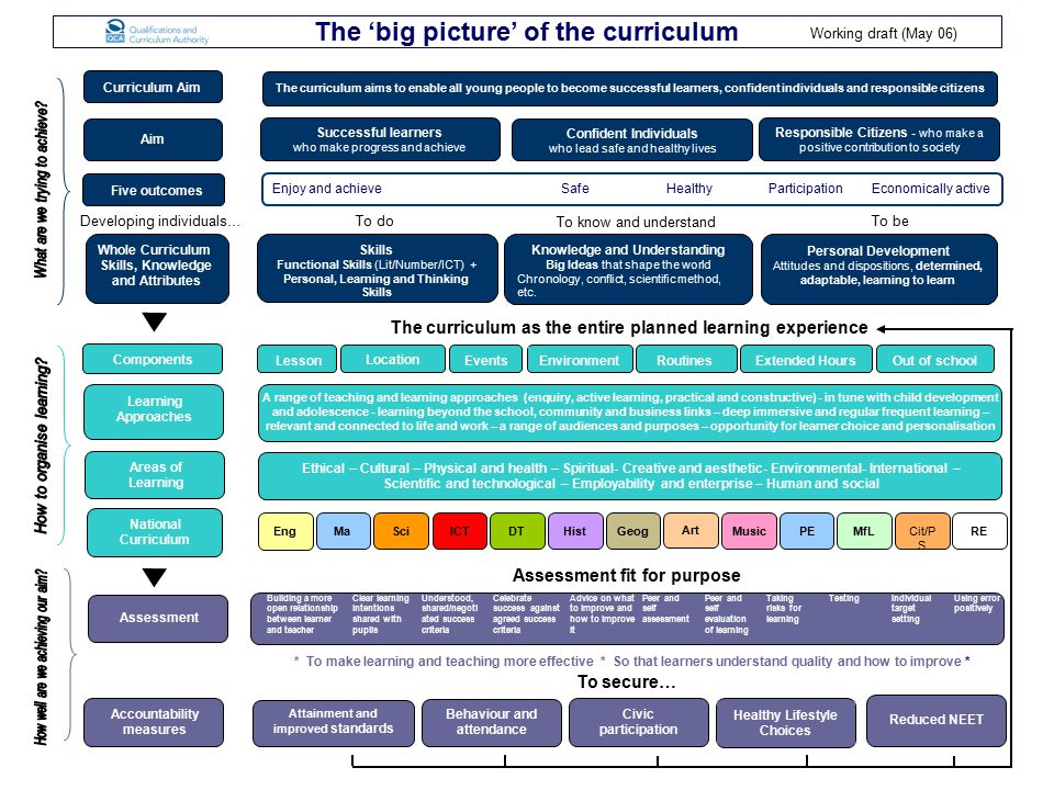 The 'big picture' of the curriculum