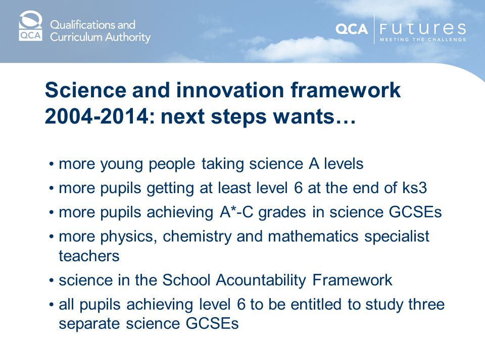 Science and innovation framework : next steps wants…