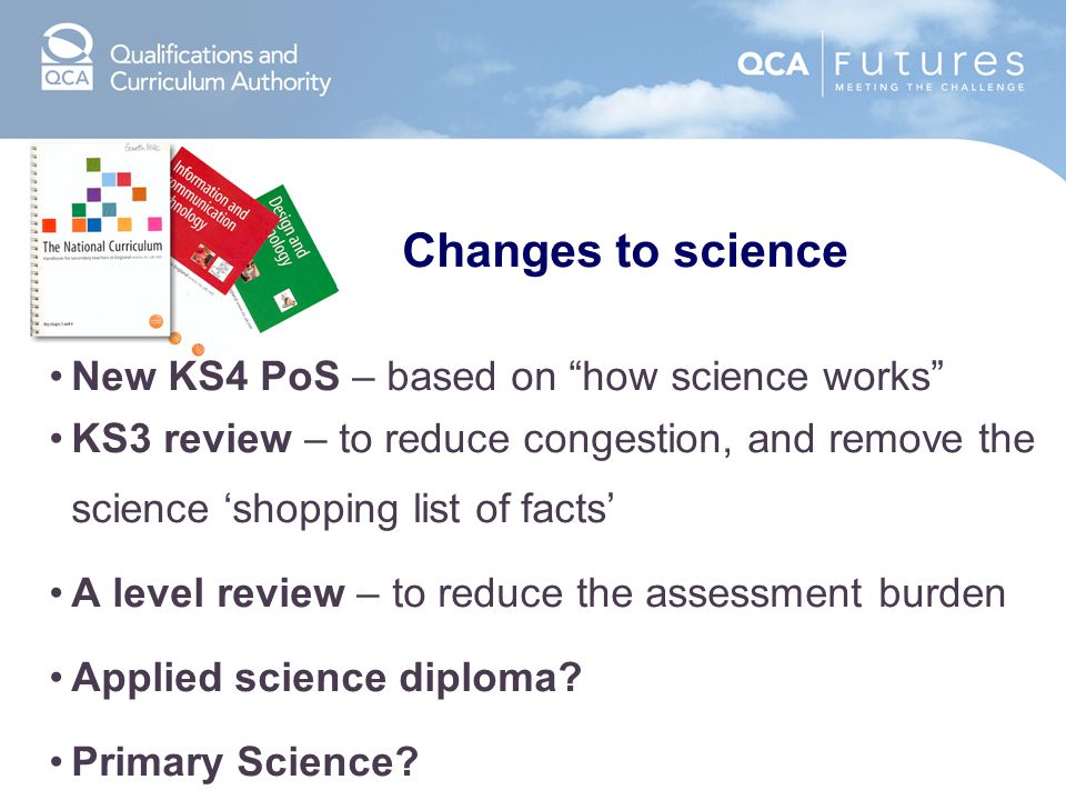 Changes to science New KS4 PoS – based on how science works