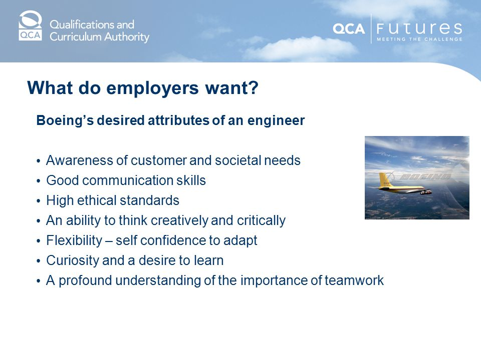 What do employers want Boeing's desired attributes of an engineer