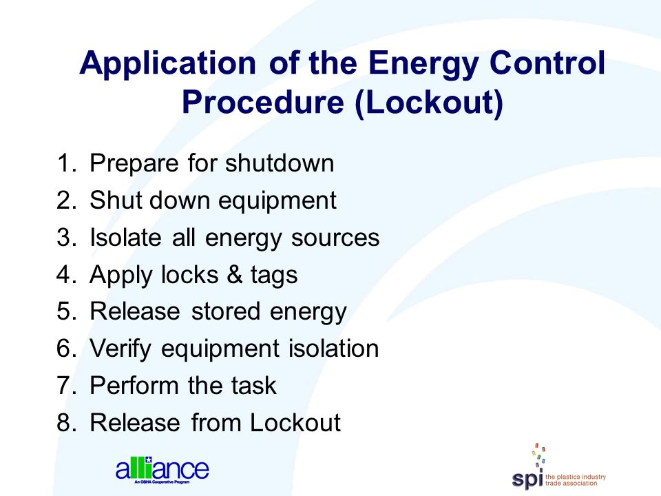 Application of the Energy Control Procedure (Lockout)