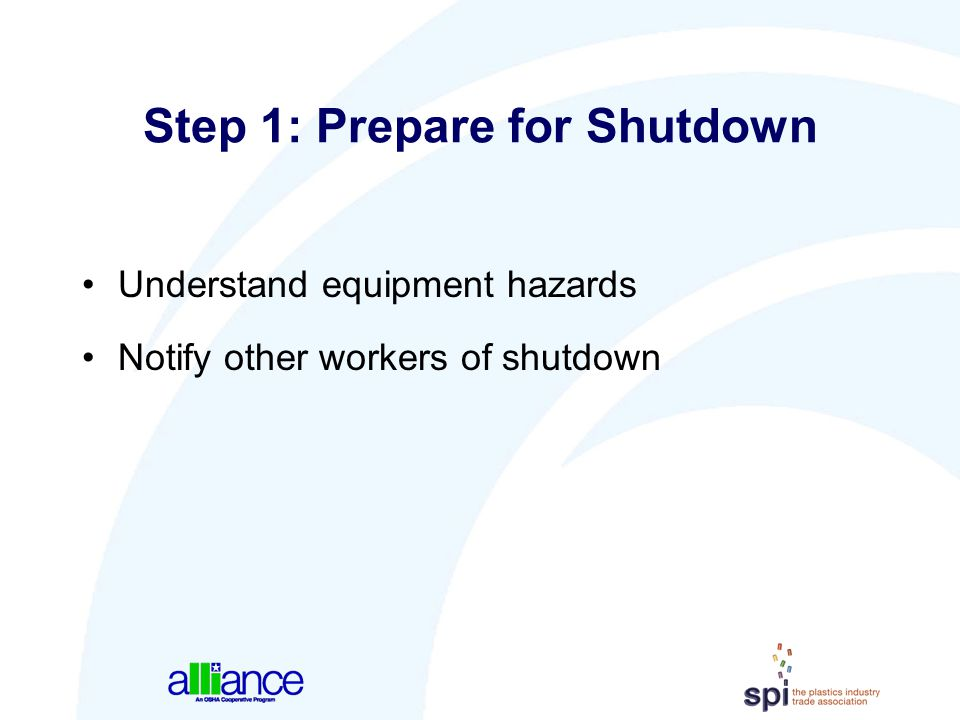 Step 1: Prepare for Shutdown