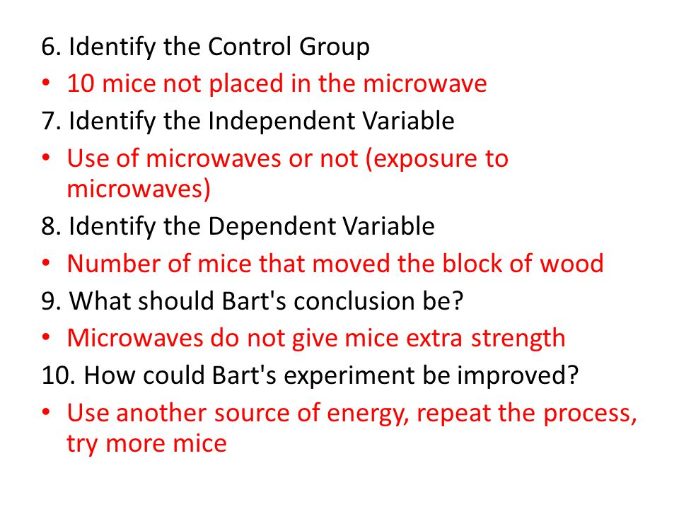 6. Identify the Control Group