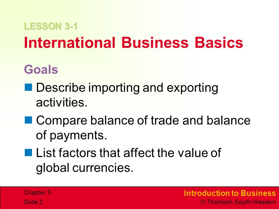 LESSON 3-1 International Business Basics