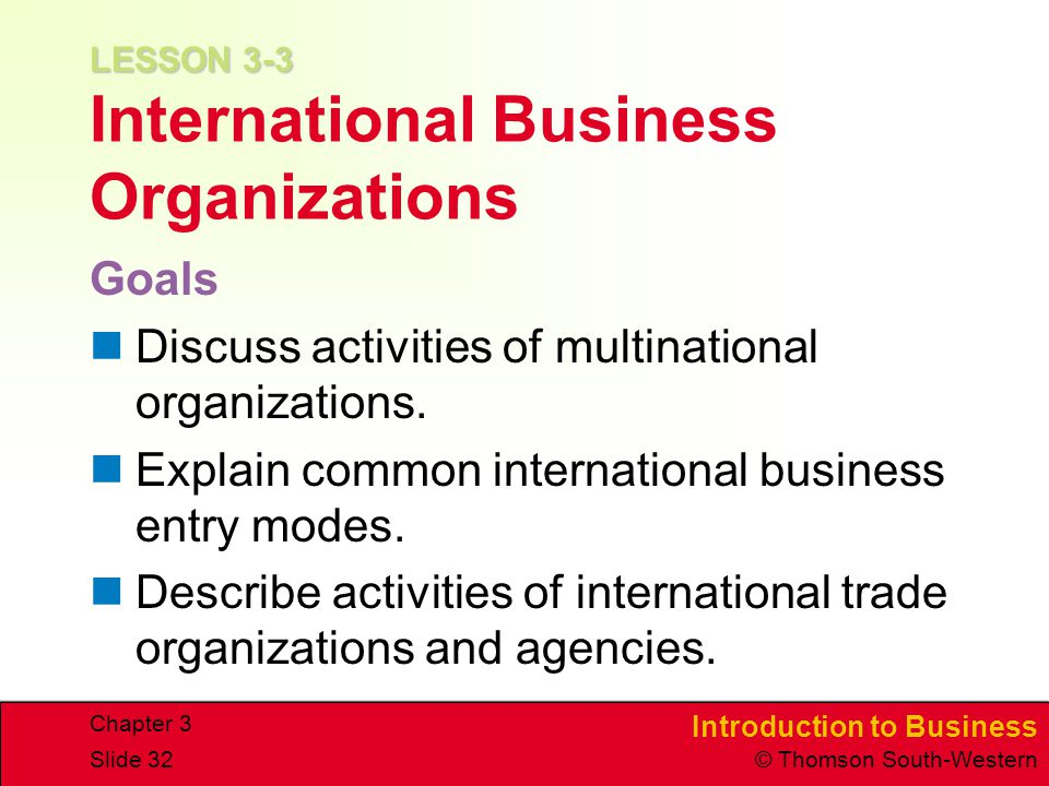 LESSON 3-3 International Business Organizations