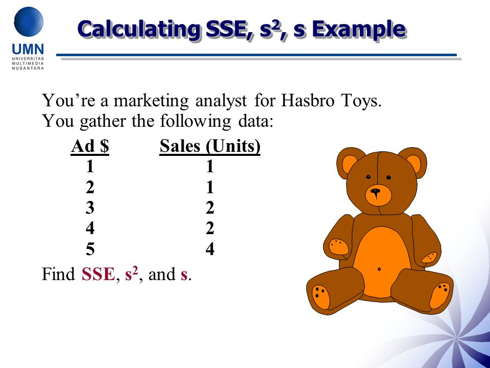 Calculating SSE, s2, s Example