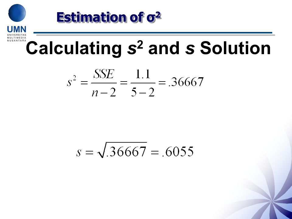 Calculating s2 and s Solution