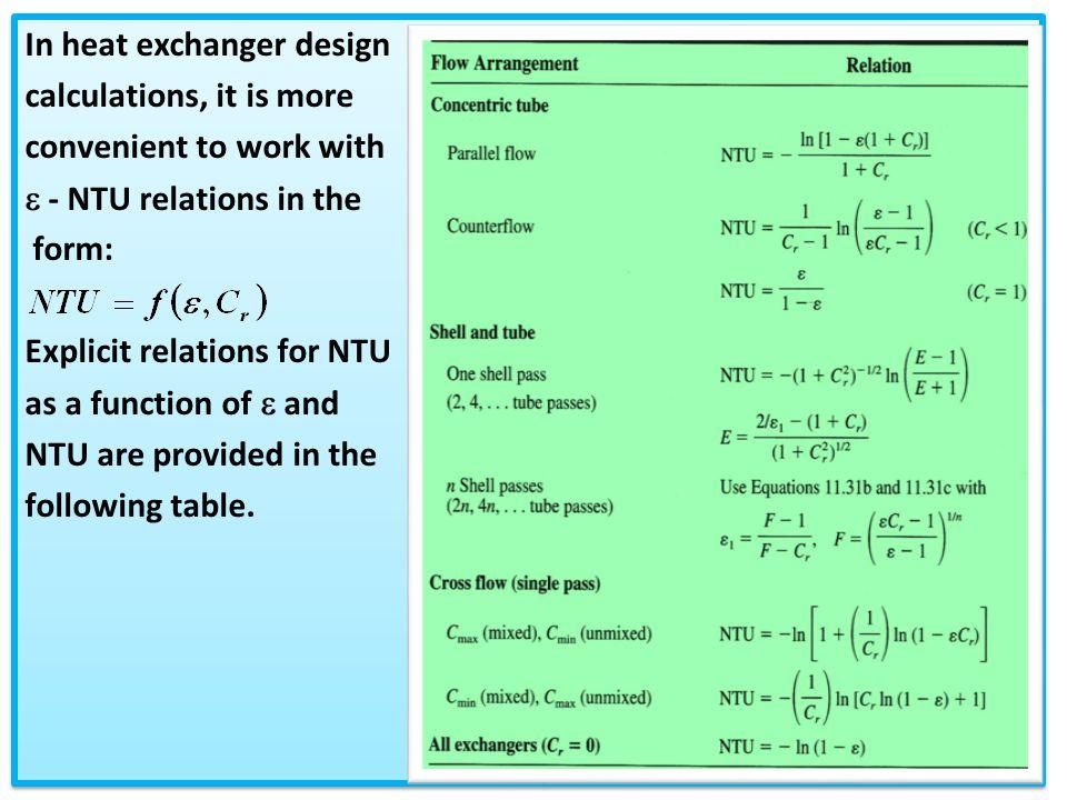 Chapter 3 2: Heat Exchanger Analysis Using -NTU method