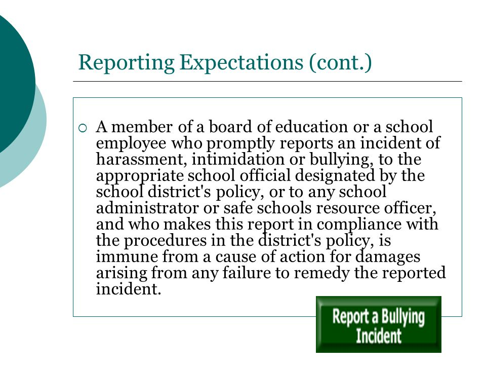 Reporting Expectations (cont.)