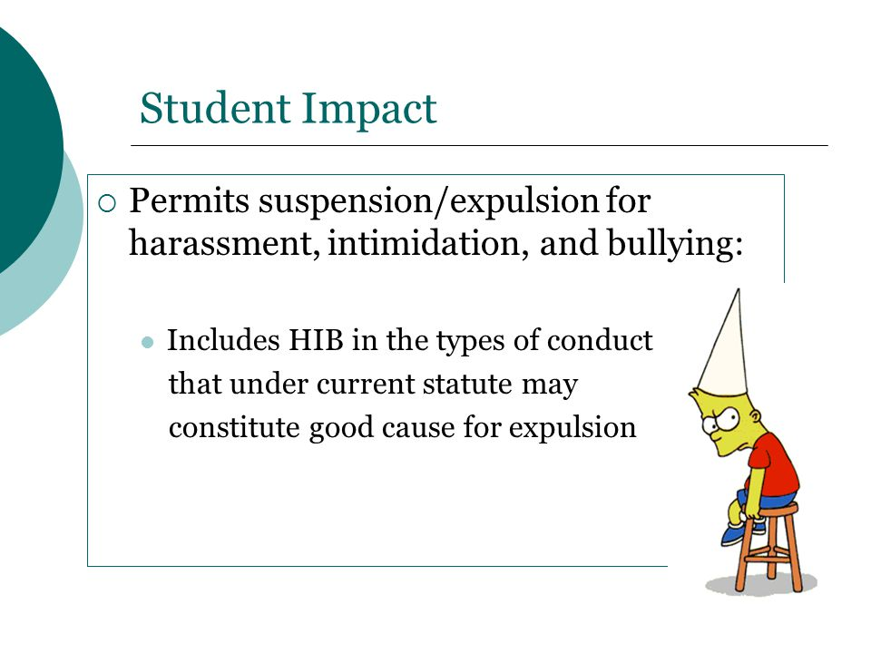 Student Impact Permits suspension/expulsion for harassment, intimidation, and bullying: Includes HIB in the types of conduct.
