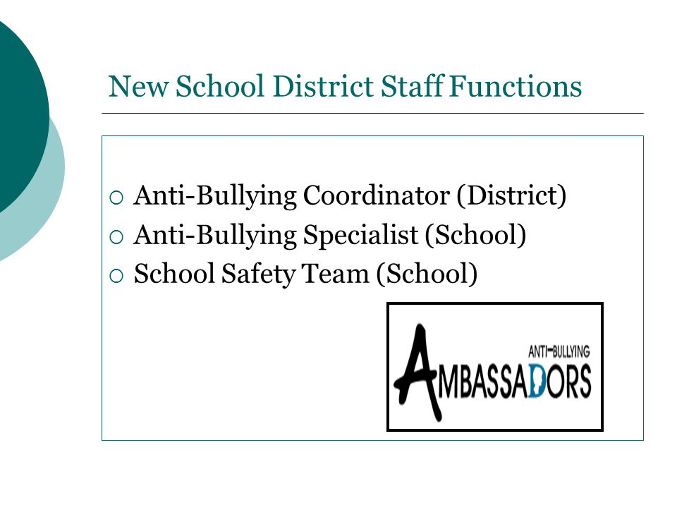 New School District Staff Functions