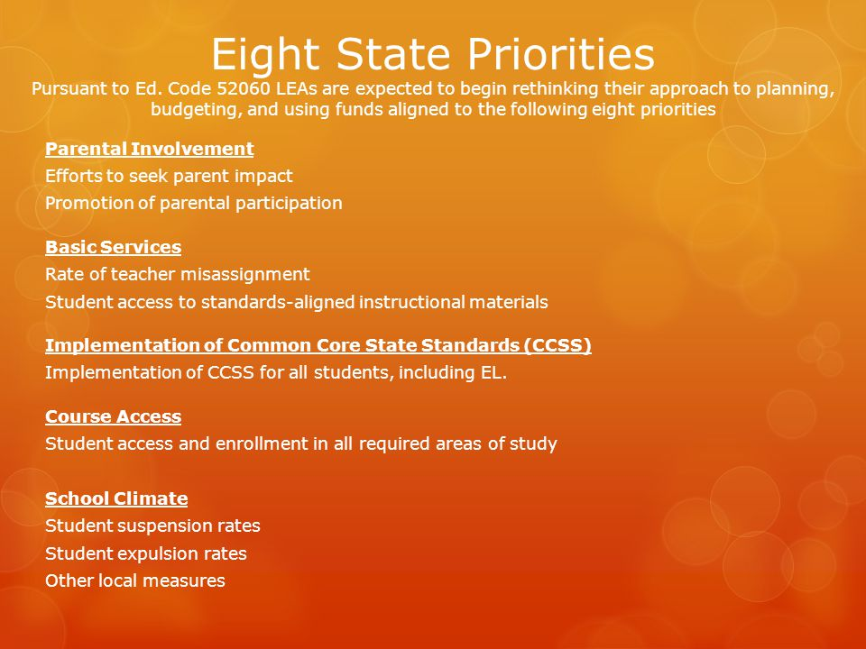 Eight State Priorities Pursuant to Ed