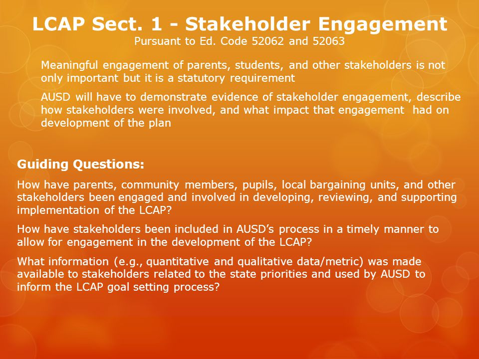LCAP Sect. 1 - Stakeholder Engagement Pursuant to Ed