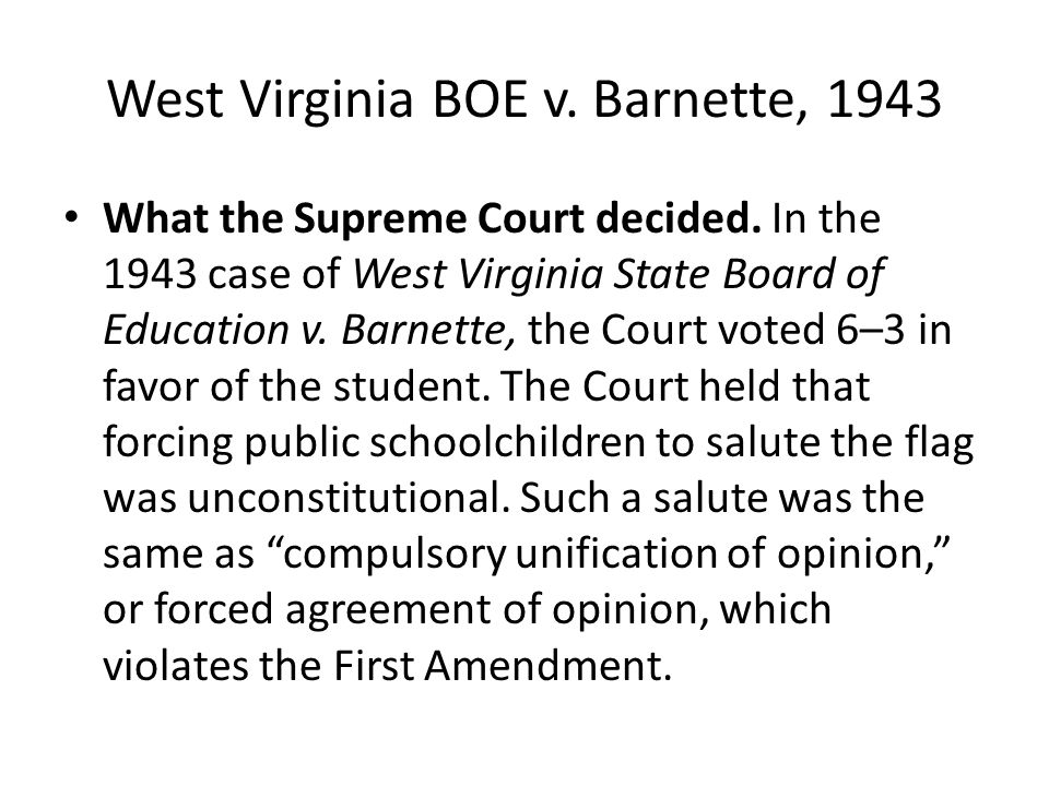 west virginia board of education vs barnette