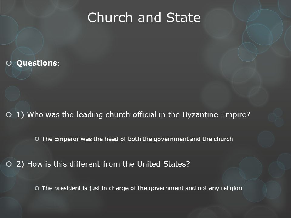 Church and State Questions:
