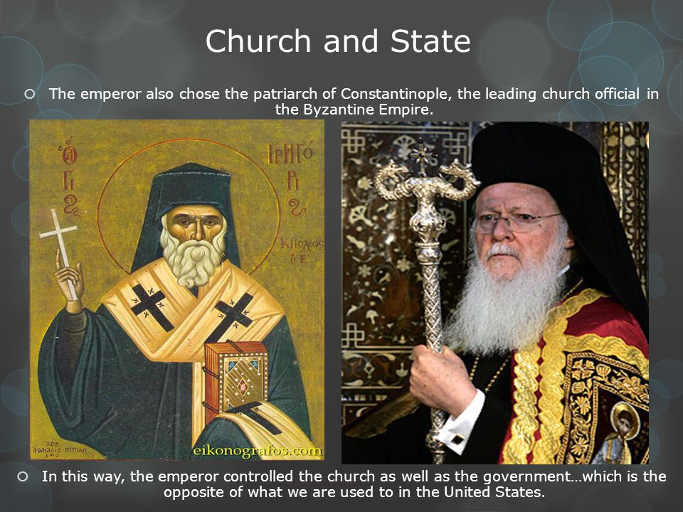 Church and State The emperor also chose the patriarch of Constantinople, the leading church official in the Byzantine Empire.