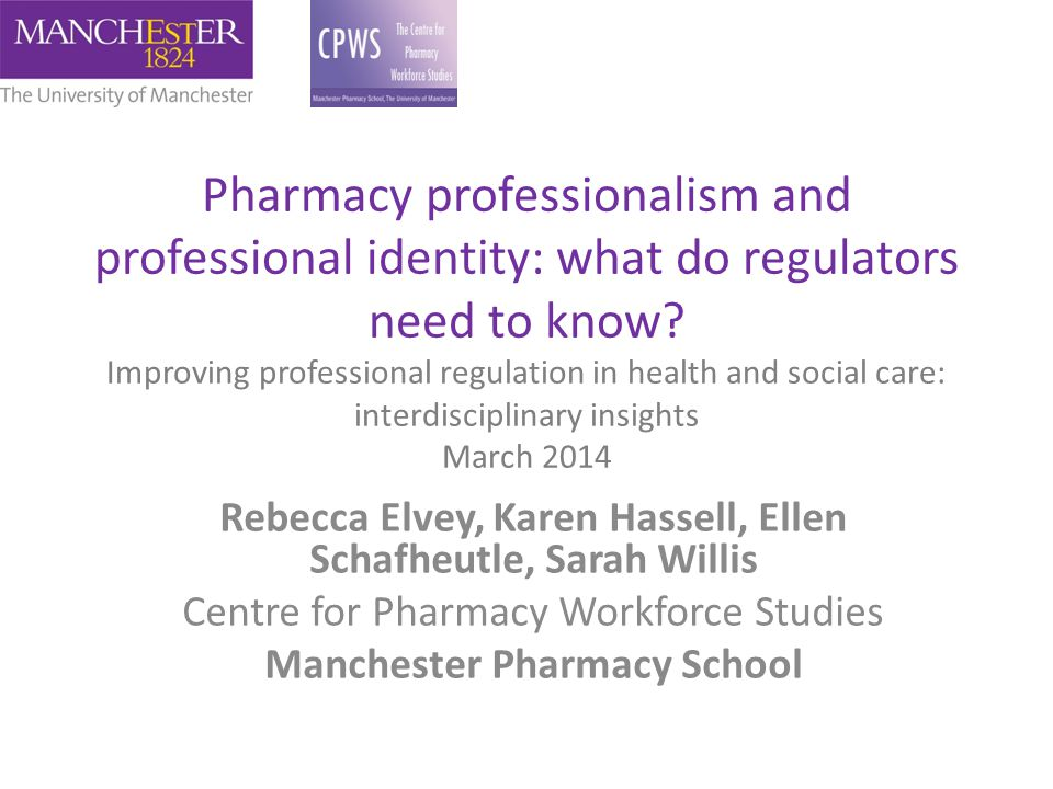 Pharmacy professionalism and professional identity: what do regulators need to know Improving professional regulation in health and social care: interdisciplinary insights March 2014