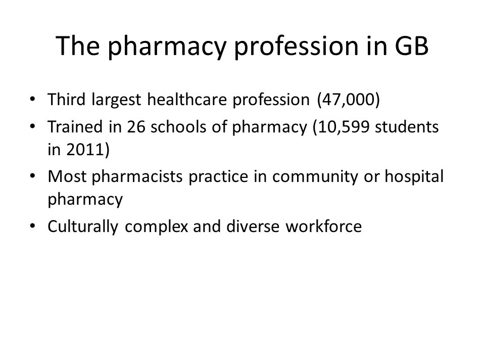 The pharmacy profession in GB