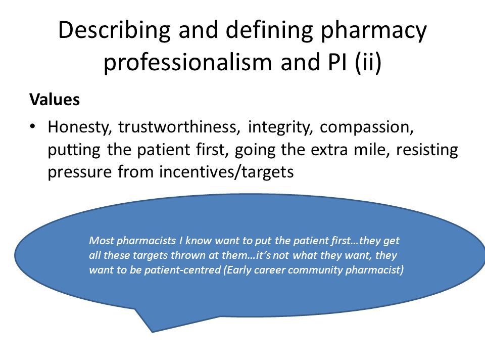 Describing and defining pharmacy professionalism and PI (ii)