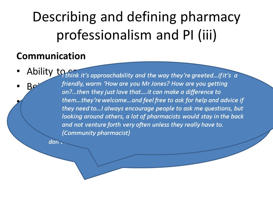 Describing and defining pharmacy professionalism and PI (iii)
