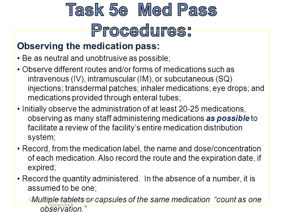 Task 5e Med Pass Procedures: