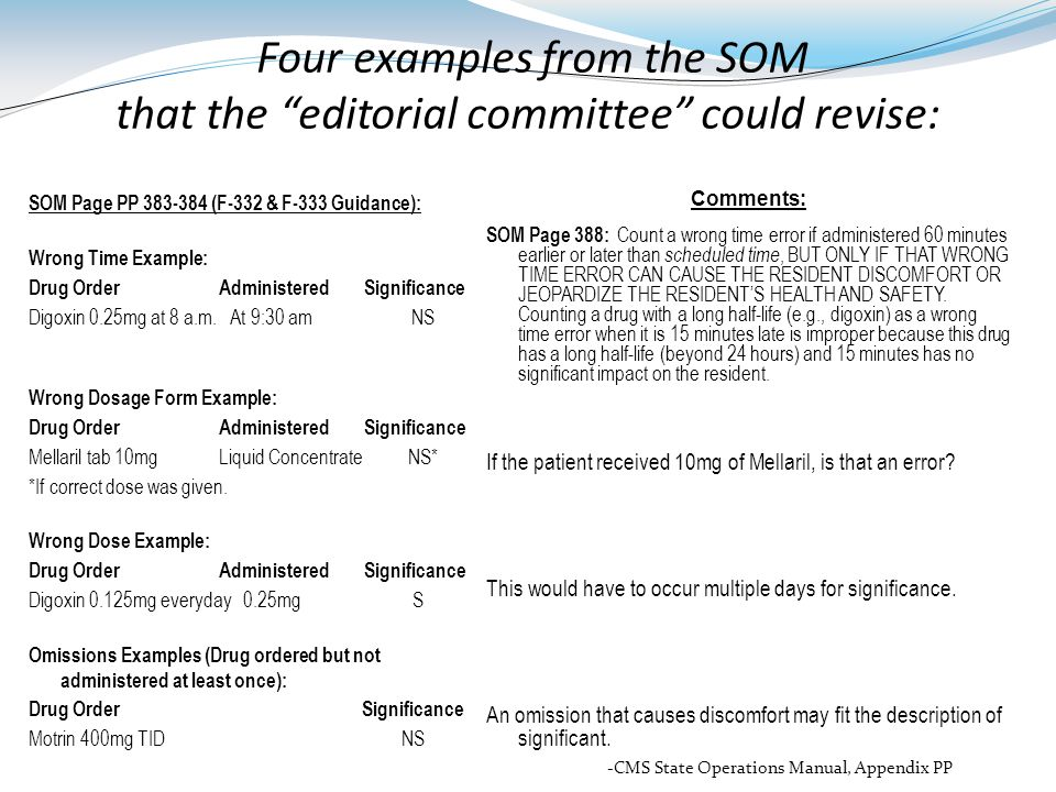 Four examples from the SOM that the editorial committee could revise: