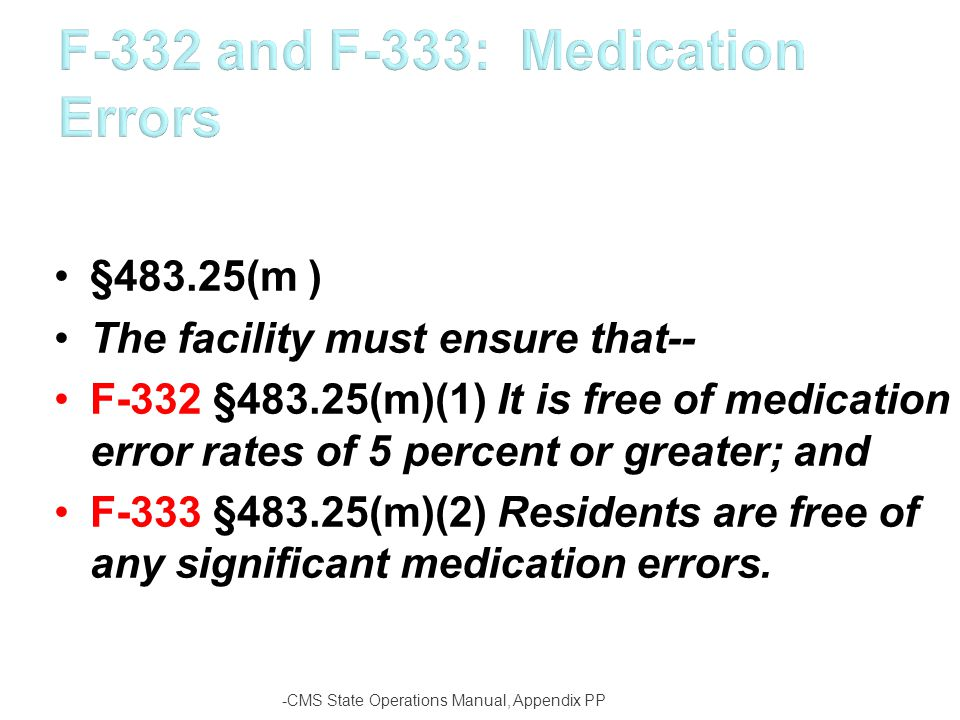 F-332 and F-333: Medication Errors