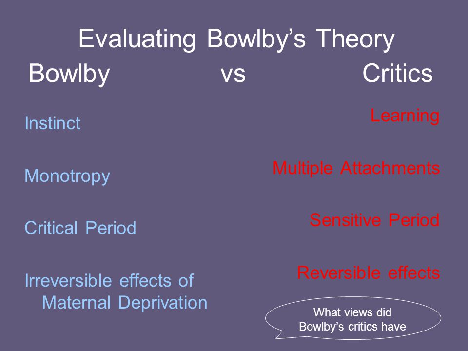 Evaluating Bowlby's Theory Bowlby vs Critics