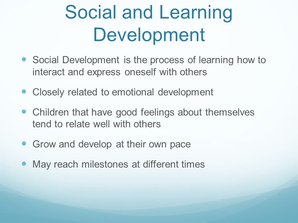 Social and Learning Development