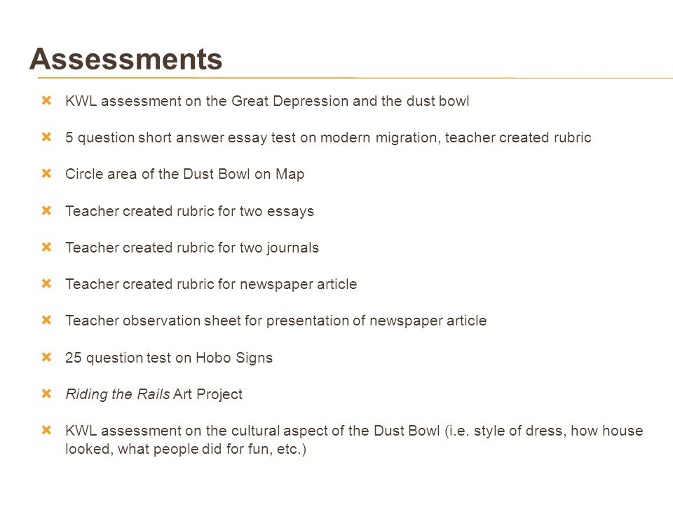 How To Write A Good Proposal Essay Assessments Kwl Assessment On The Great Depression And The Dust Bowl Sample Proposal Essay also English Debate Essay Out Of The Dust Overcoming Hardships  Ppt Download Thesis Statement Persuasive Essay