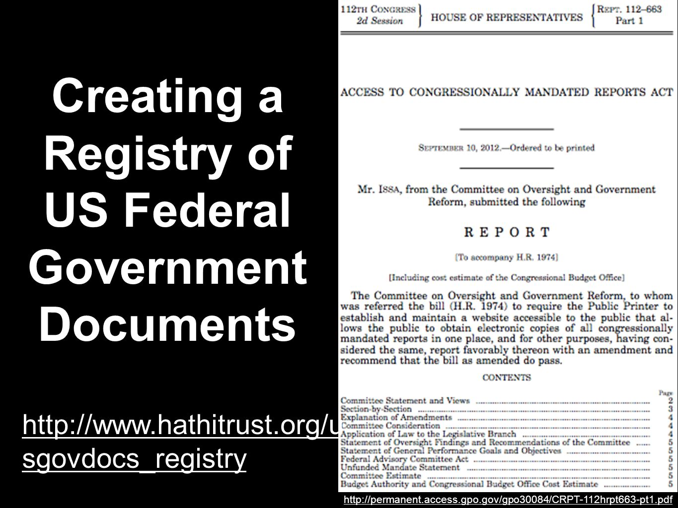 Creating a Registry of US Federal Government Documents