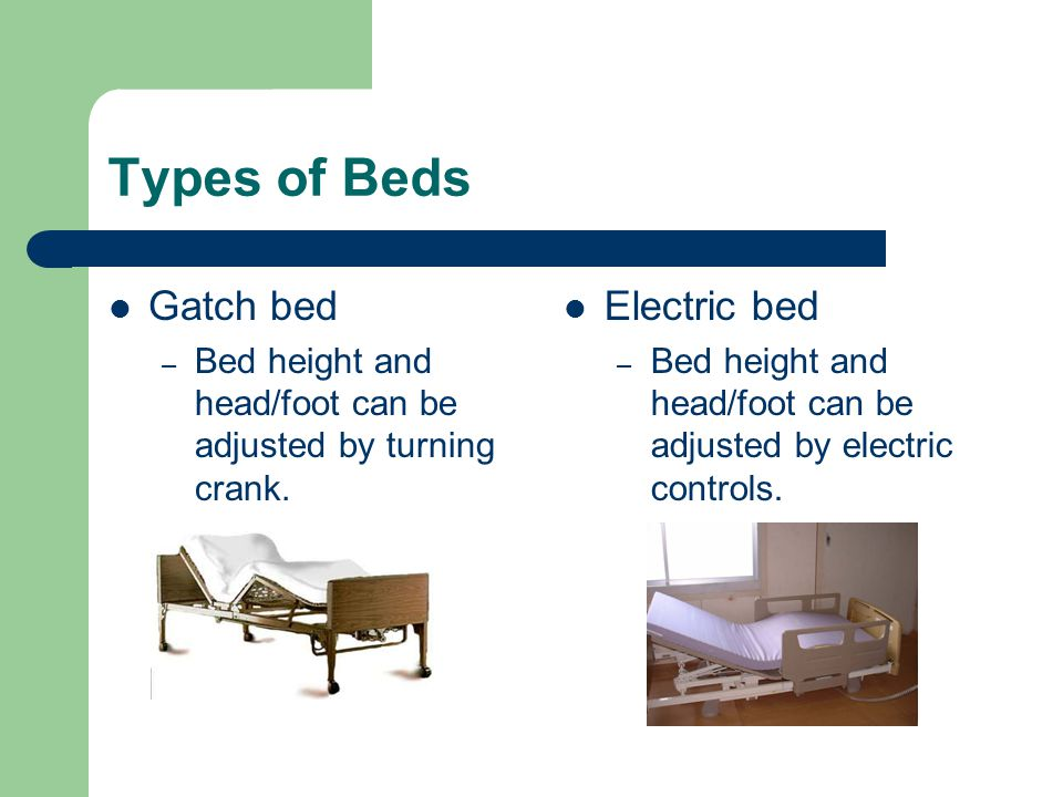 Types of Beds Gatch bed Electric bed
