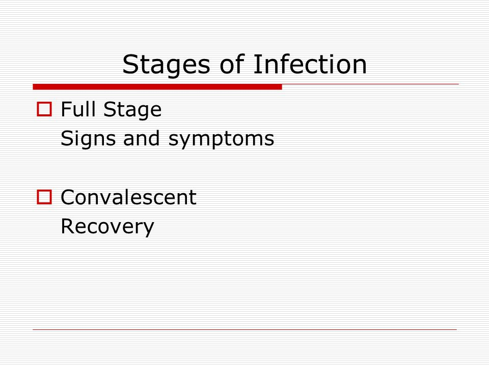 Stages of Infection Full Stage Signs and symptoms Convalescent
