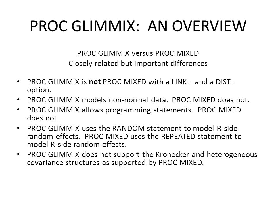 PROC GLIMMIX: AN OVERVIEW - ppt download
