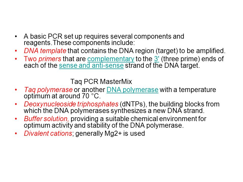 DNA template that contains the DNA region (target) to be amplified.
