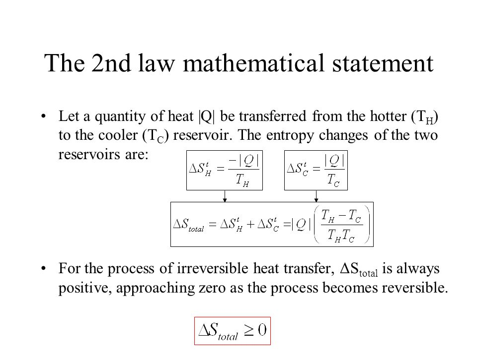 The 2nd law mathematical statement