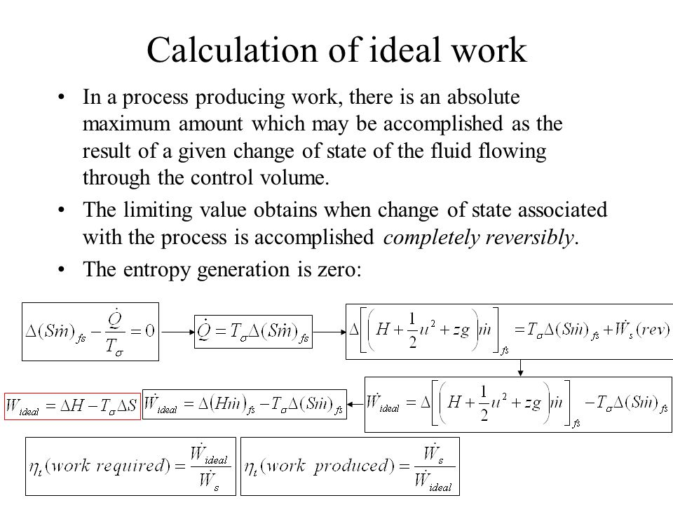 Calculation of ideal work