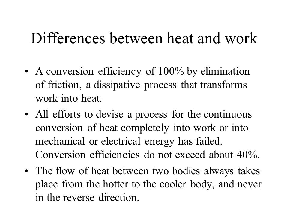 Differences between heat and work