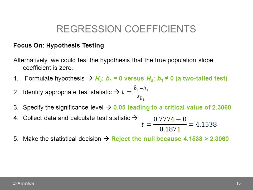 Regression coefficients