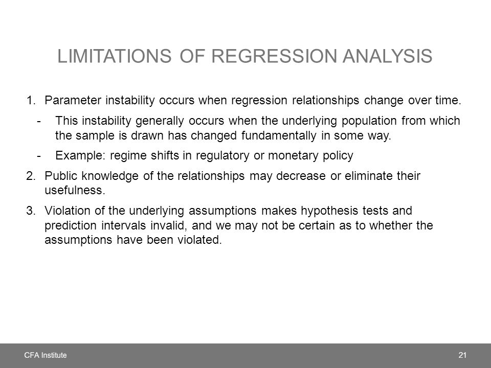 Limitations of regression analysis