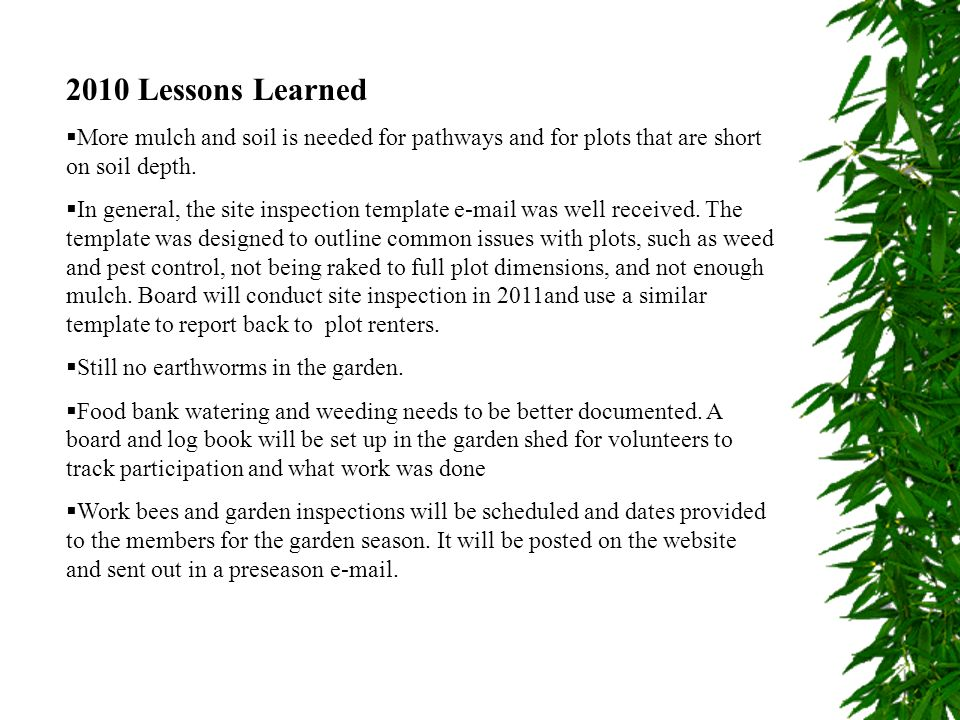2010 Lessons Learned More mulch and soil is needed for pathways and for plots that are short on soil depth.