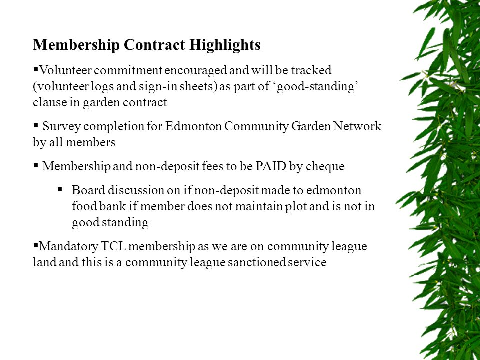 Membership Contract Highlights