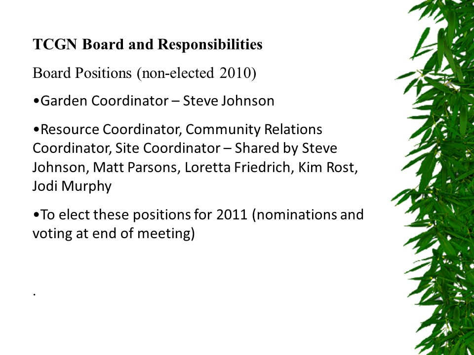 TCGN Board and Responsibilities