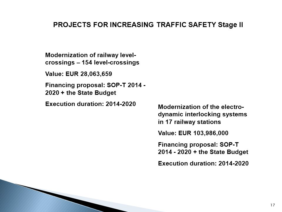 PROJECTS FOR INCREASING TRAFFIC SAFETY Stage II