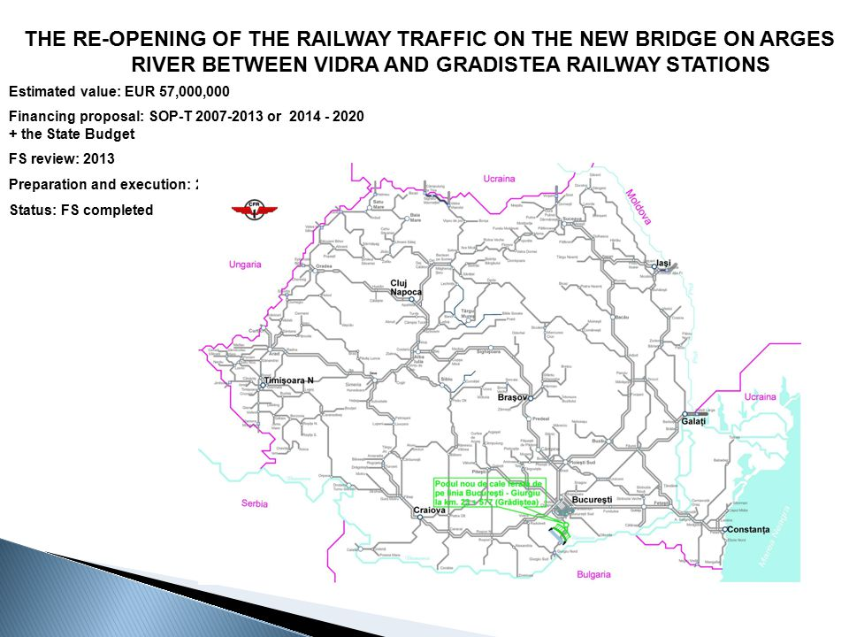THE RE-OPENING OF THE RAILWAY TRAFFIC ON THE NEW BRIDGE ON ARGES RIVER BETWEEN VIDRA AND GRADISTEA RAILWAY STATIONS