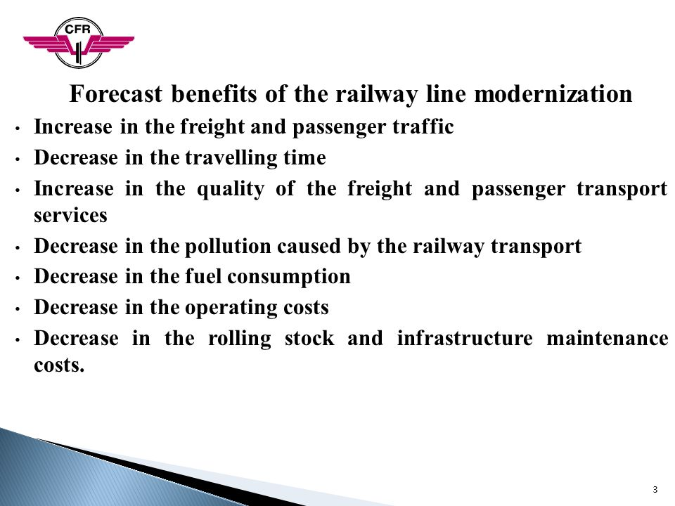 Forecast benefits of the railway line modernization