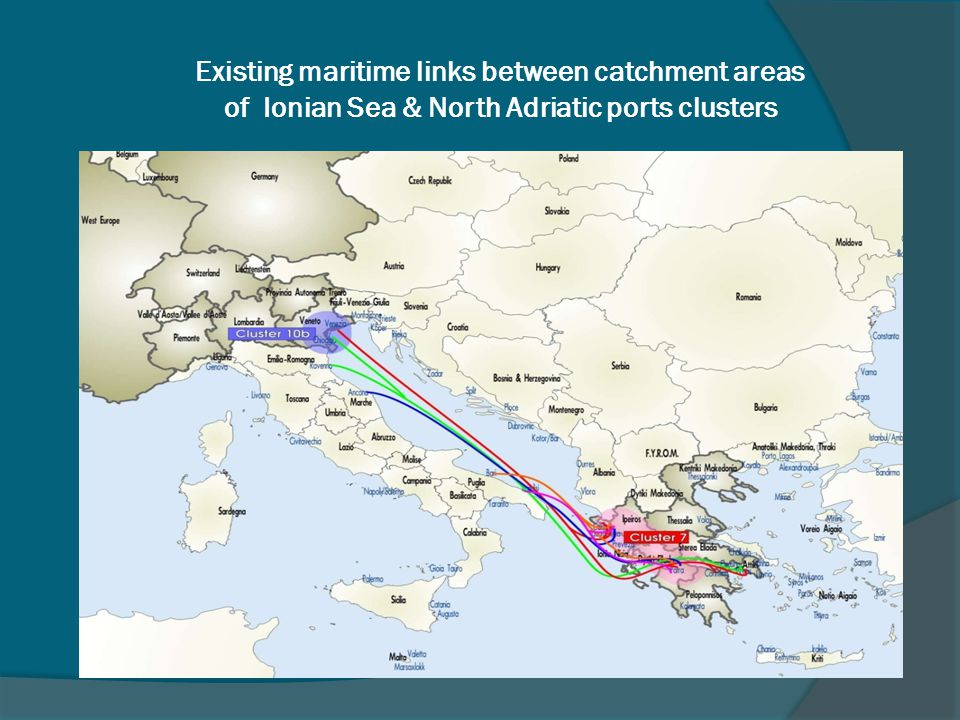 Existing maritime links between catchment areas