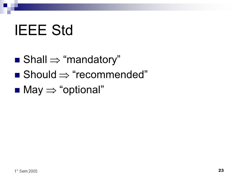IEEE Std Shall  mandatory Should  recommended May  optional