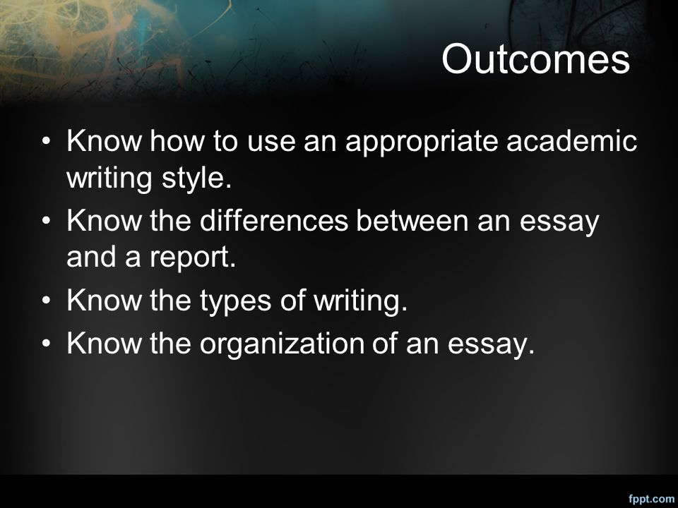 outcomes know how to use an appropriate academic writing style